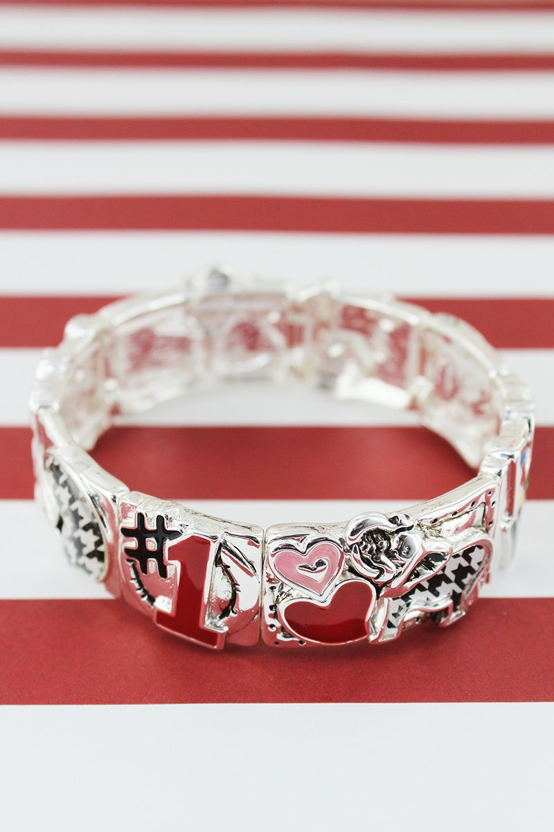 Houndstooth and Red Alabama Football Silvertone Stretch Bracelet