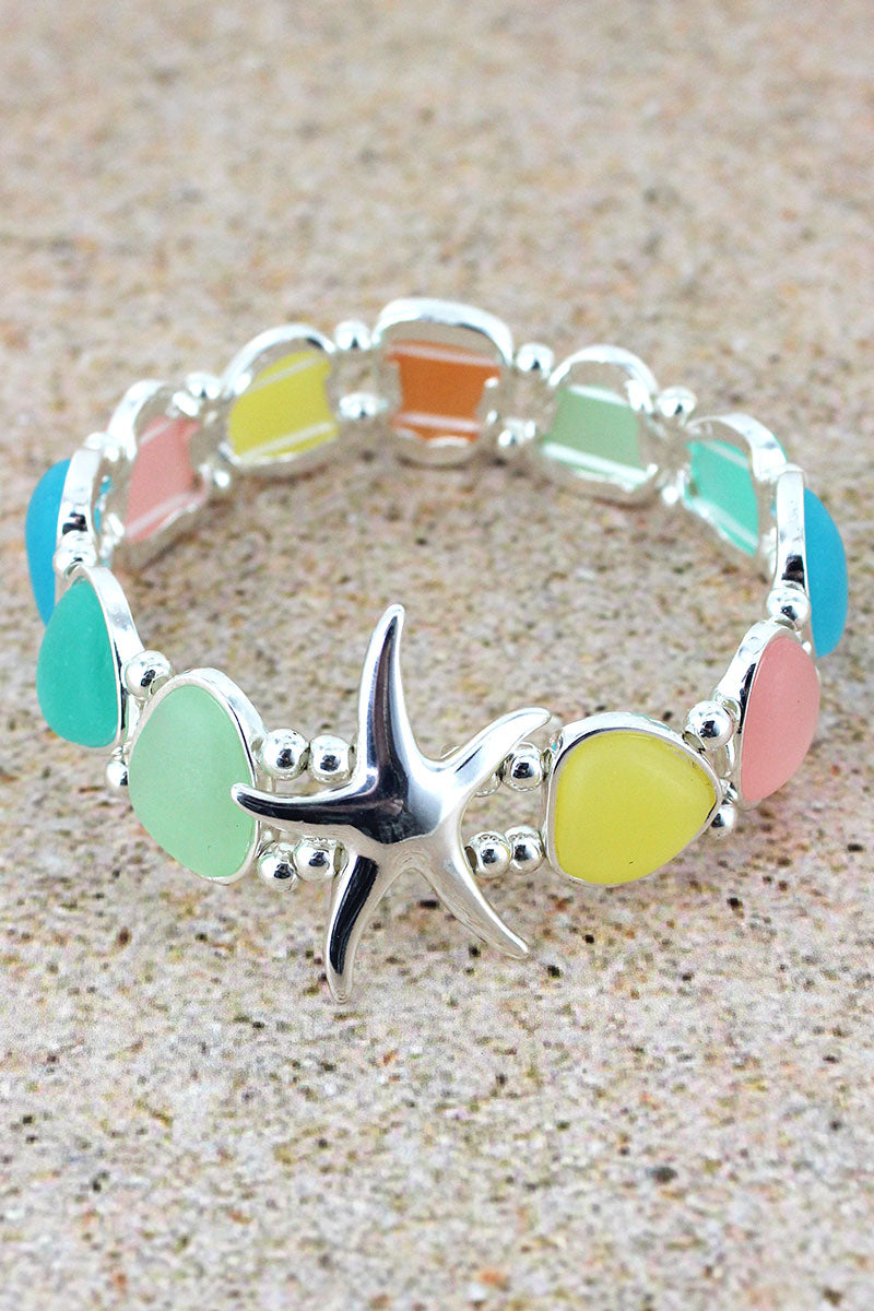 Multi-Color Sea Glass and Starfish Bracelet