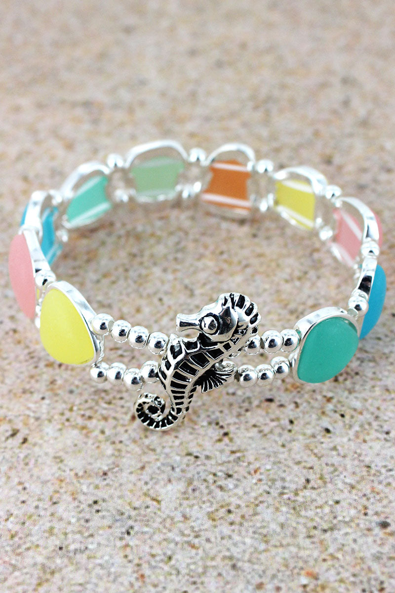 Multi-Color Sea Glass and Seahorse Bracelet