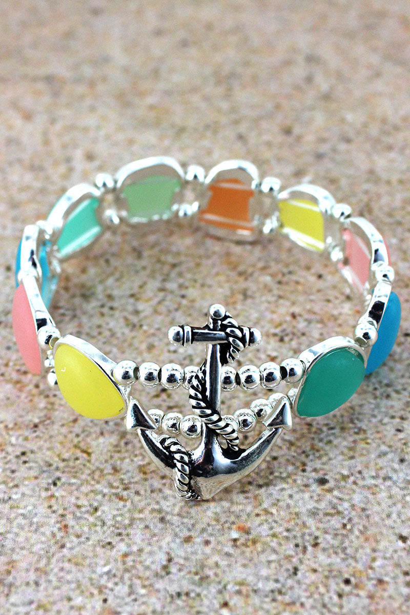Multi-Color Sea Glass and Anchor Bracelet