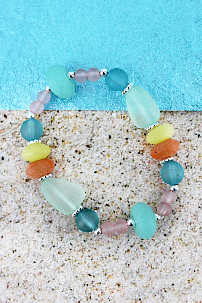 Multi-Color Sea Glass Stretch Bracelet