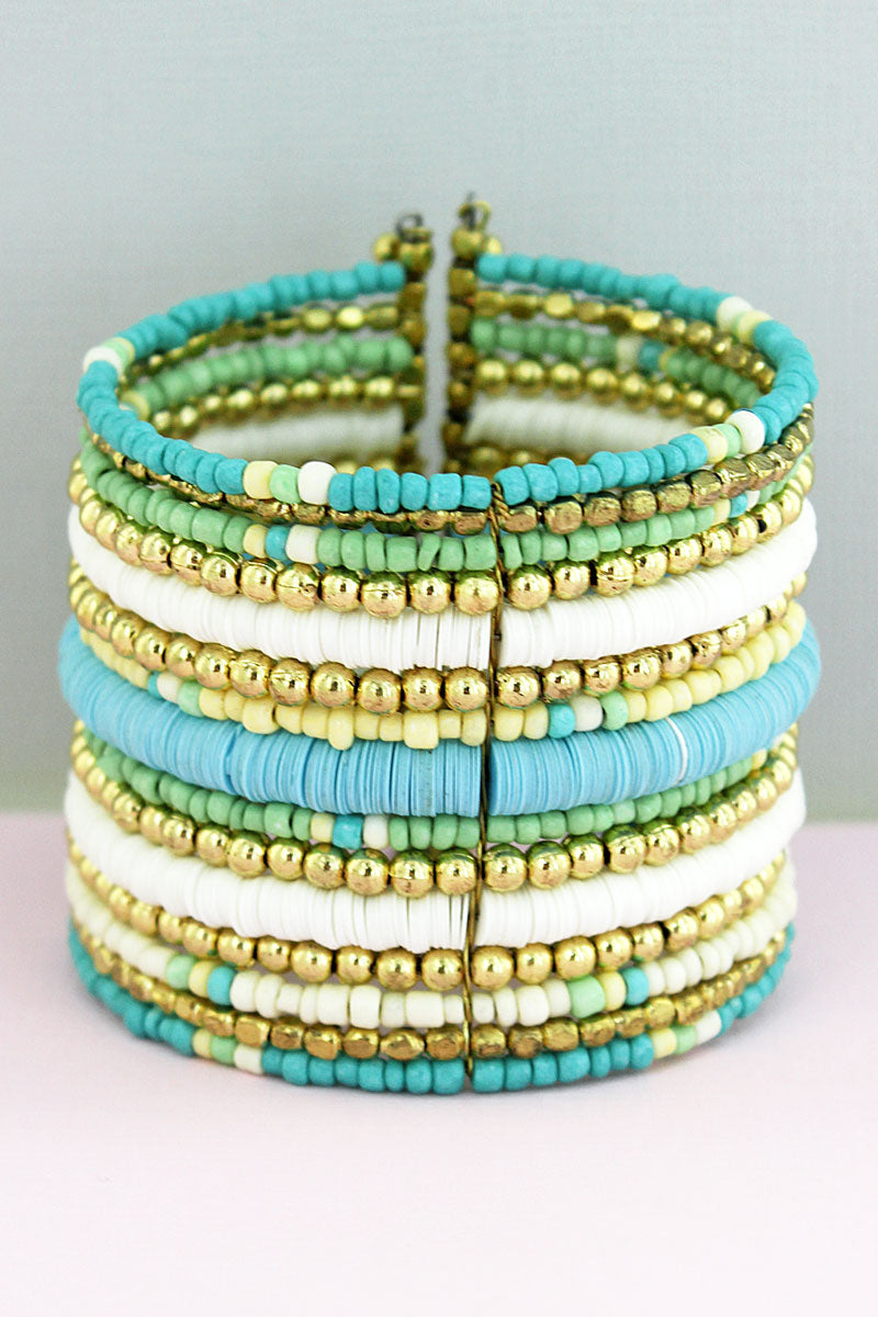 Mint Multi Disk and Seed Bead Wide Cuff Bracelet
