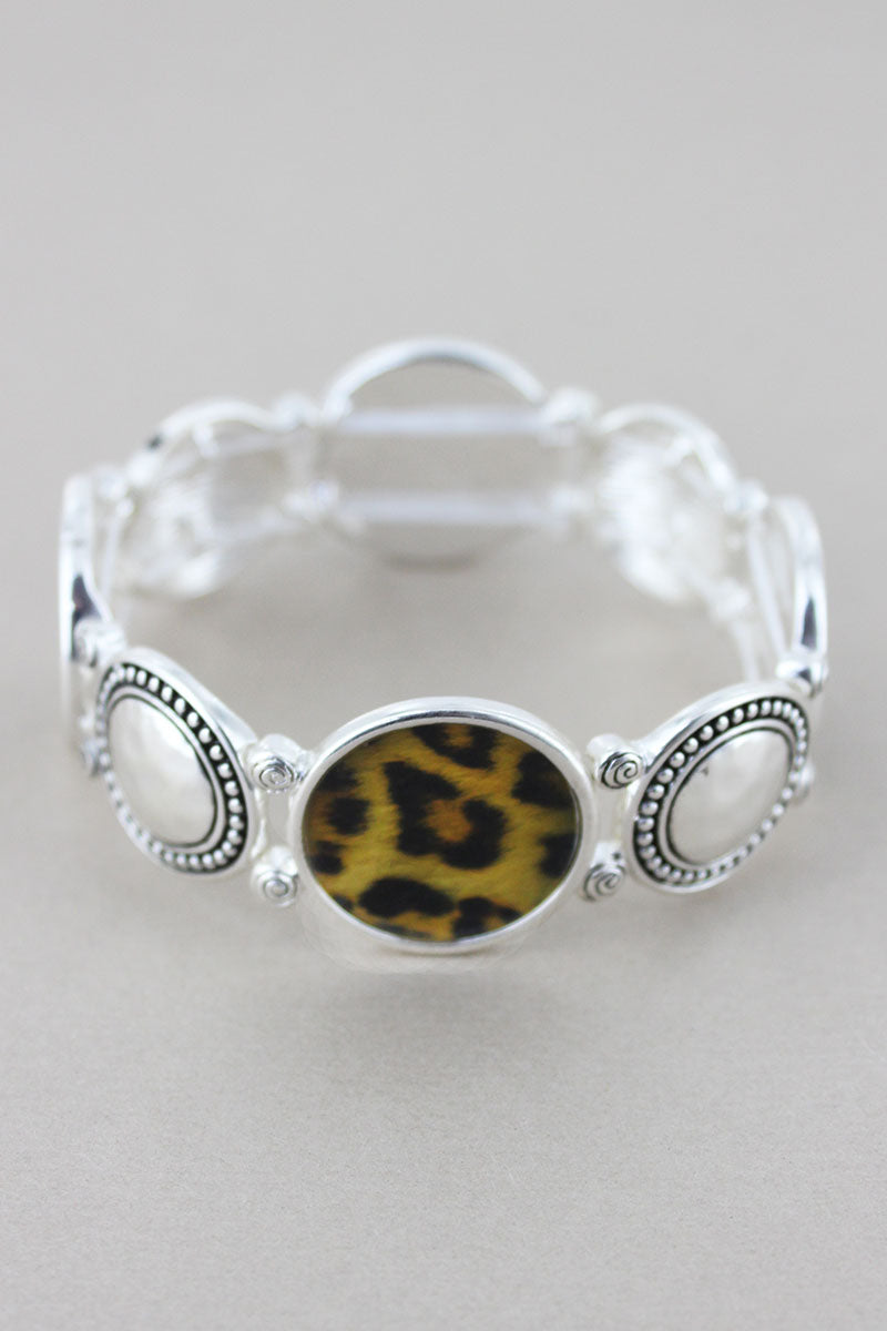 Multi-Textured Silvertone and Leopard Disk Stretch Bracelet
