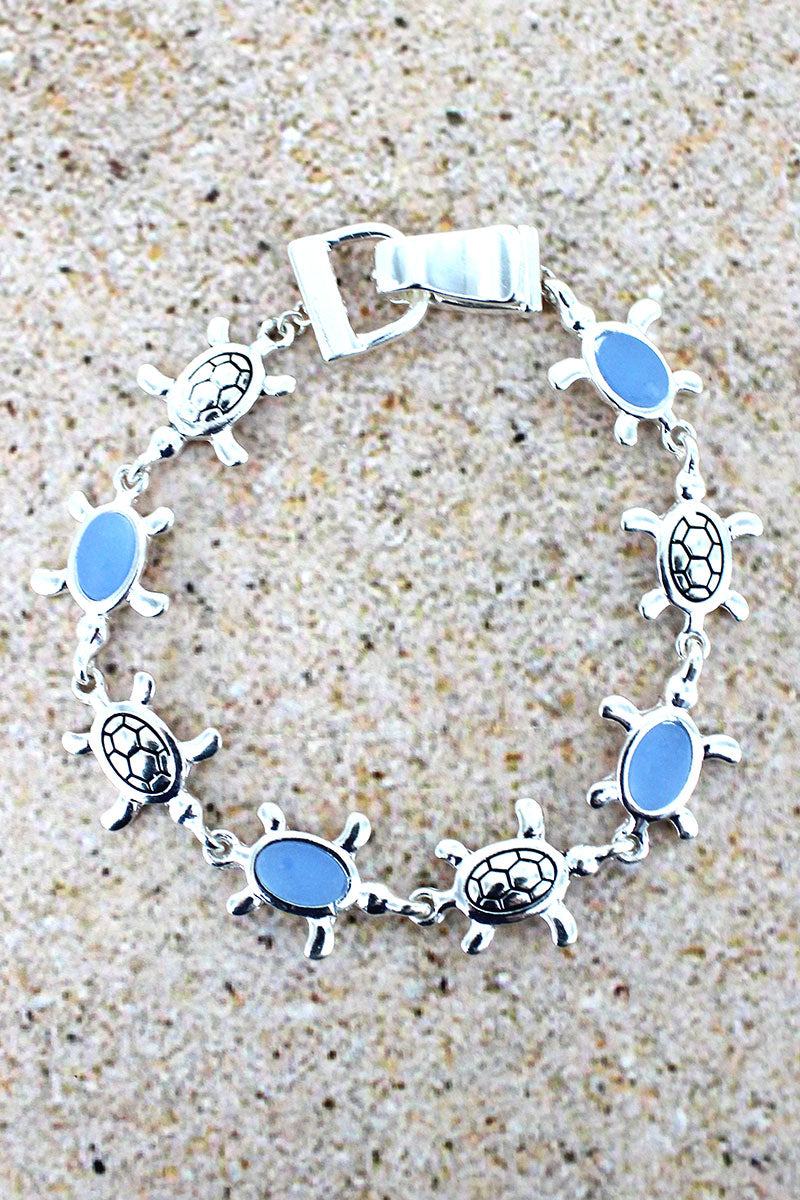 Blue Sea Glass and Silvertone Turtle Magnetic Bracelet