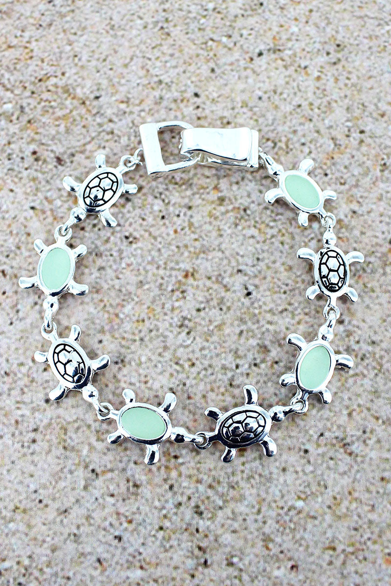 Turquoise Sea Glass and Silvertone Turtle Magnetic Bracelet