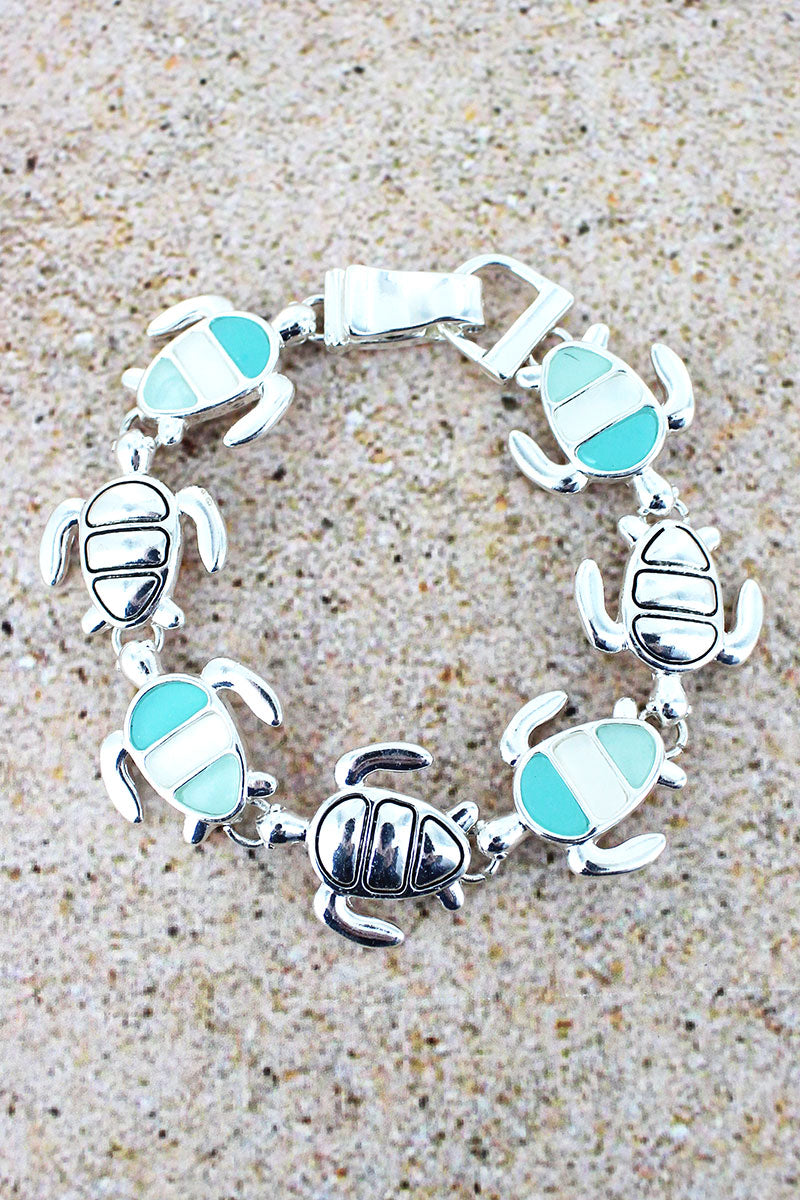 Tri-Color Sea Glass and Silvertone Turtle Magnetic Bracelet