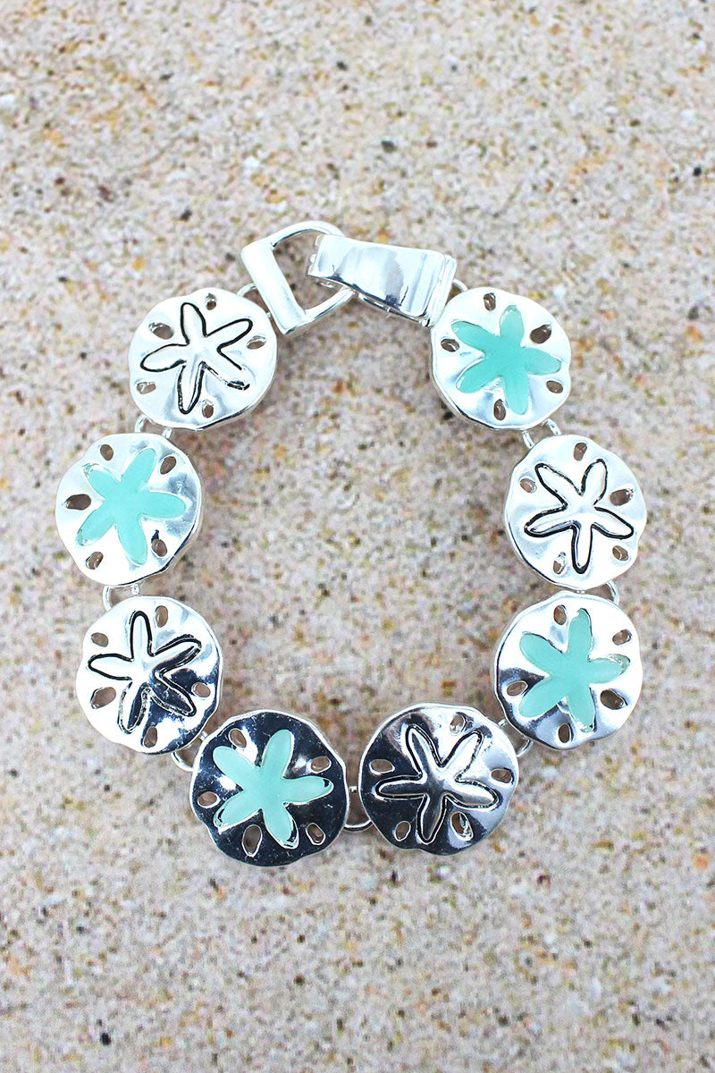 Turquoise Sea Glass and Silvertone Sand Dollar Magnetic Bracelet