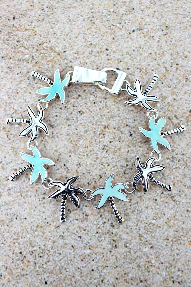 Turquoise Sea Glass and Silvertone Palm Tree Magnetic Bracelet