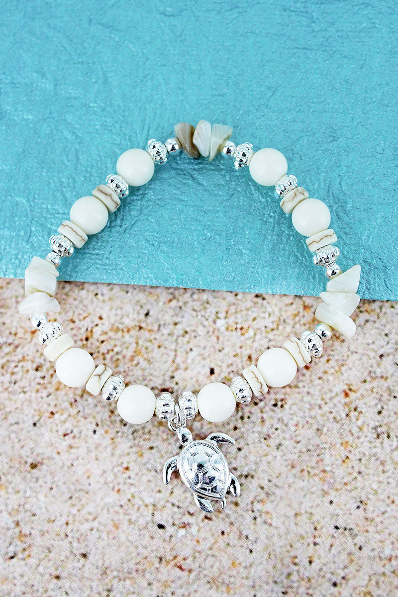 Turtle Charm Ivory Bead and Shell Stretch Bracelet