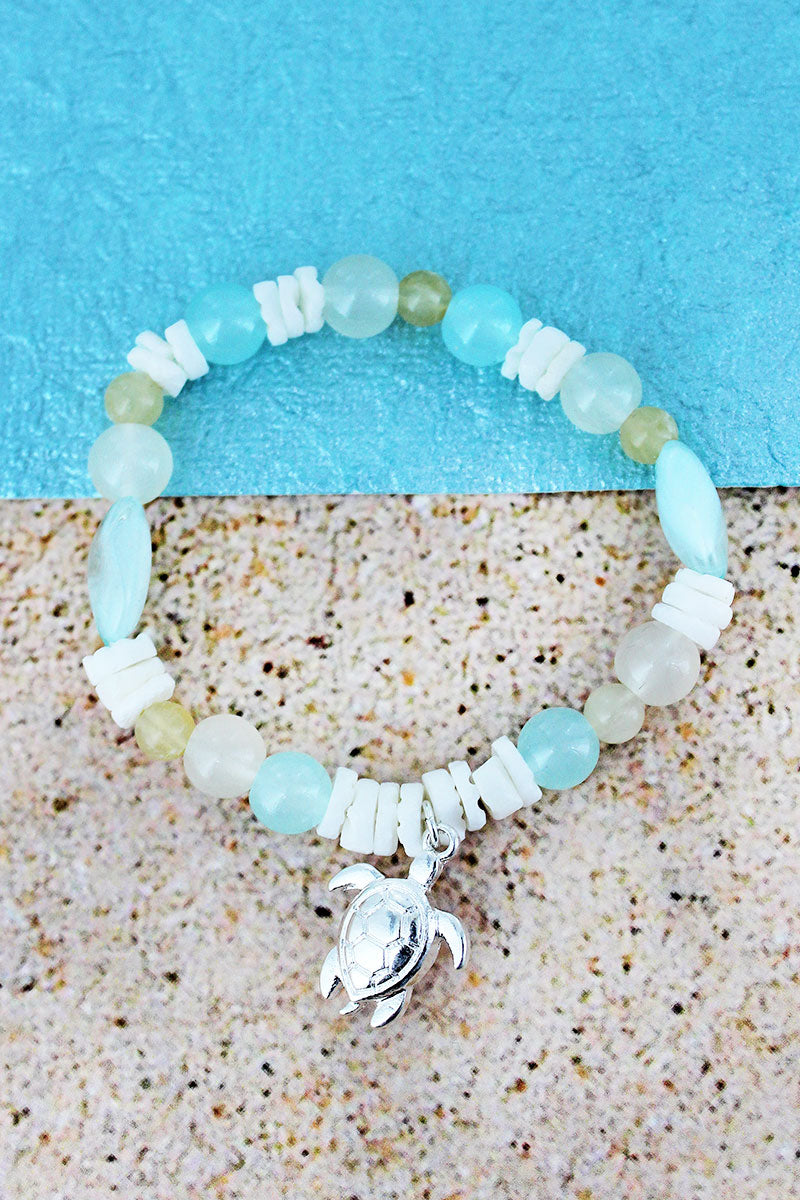 Turtle Charm Turquoise Bead and Shell Stretch Bracelet