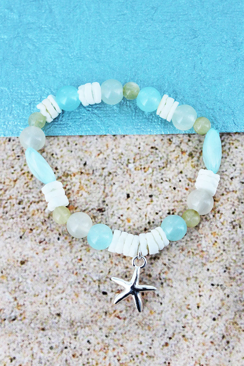 Starfish Charm Turquoise Bead and Shell Stretch Bracelet