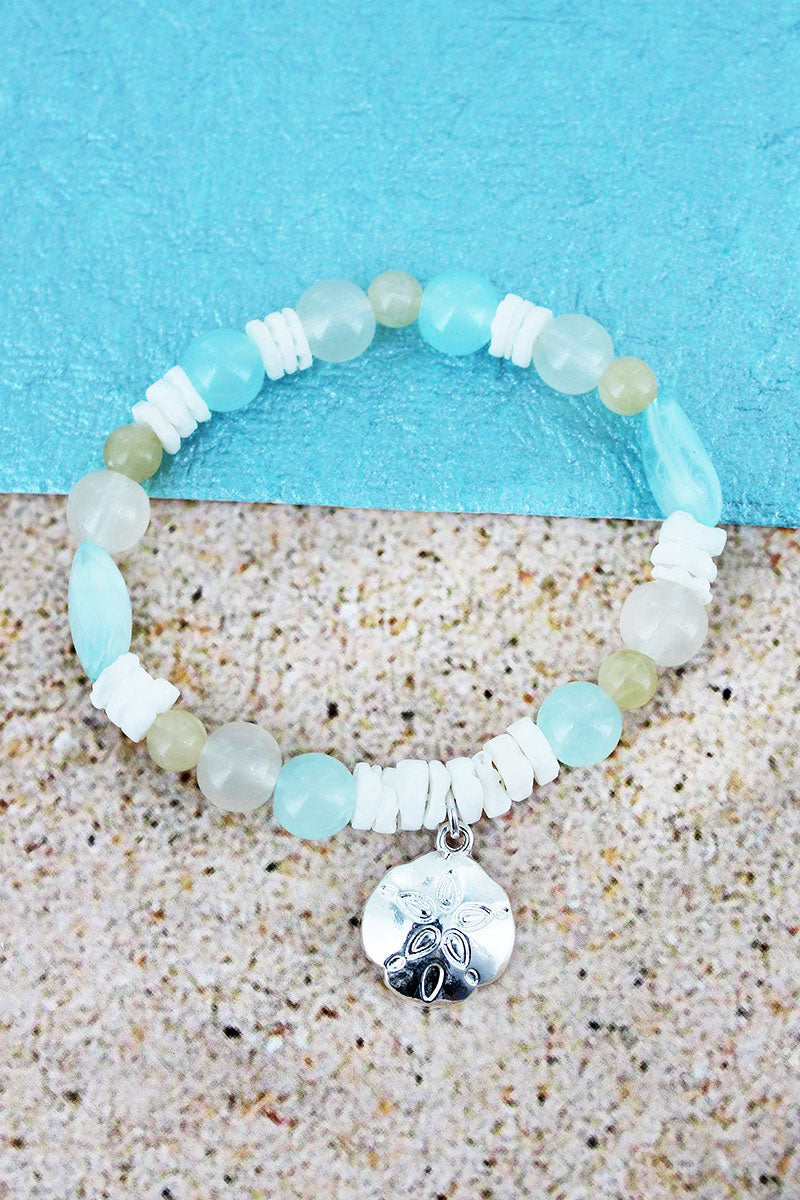 Sand Dollar Charm Turquoise Bead and Shell Stretch Bracelet