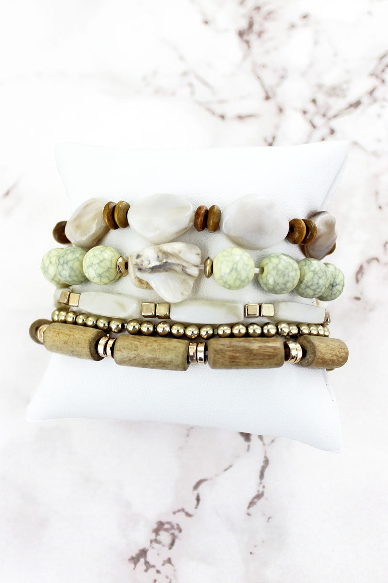 Natural Shell and Wood Mixed Bead Bracelet Set