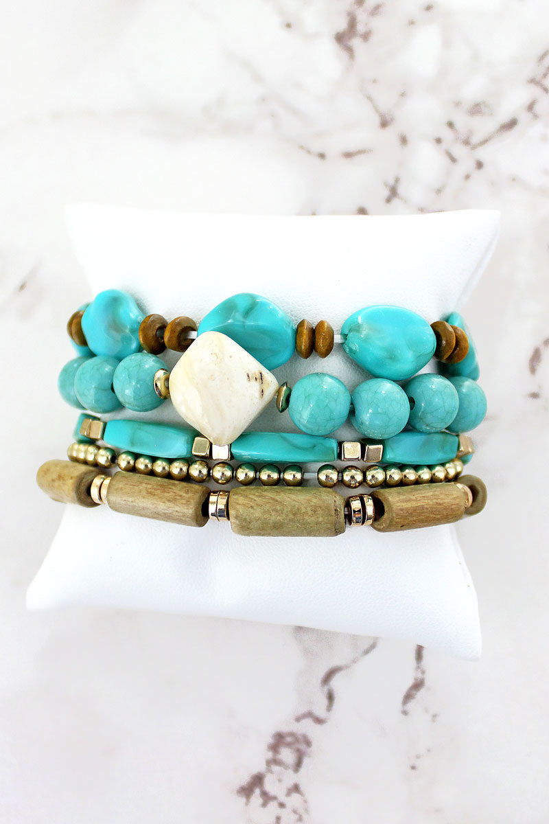 Turquoise Shell and Wood Mixed Bead Bracelet Set