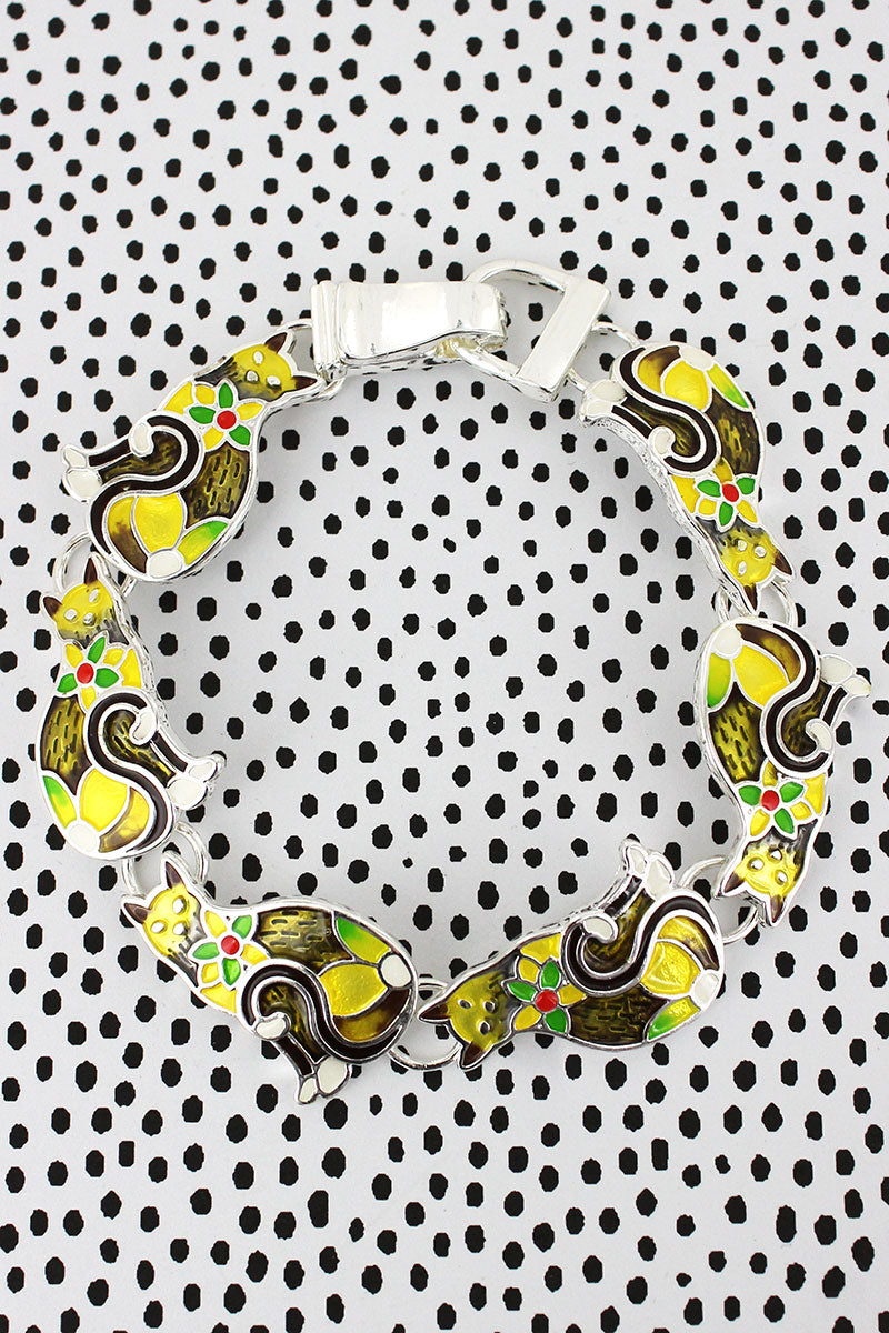 Flower Mosaic Yellow Cat Magnetic Bracelet