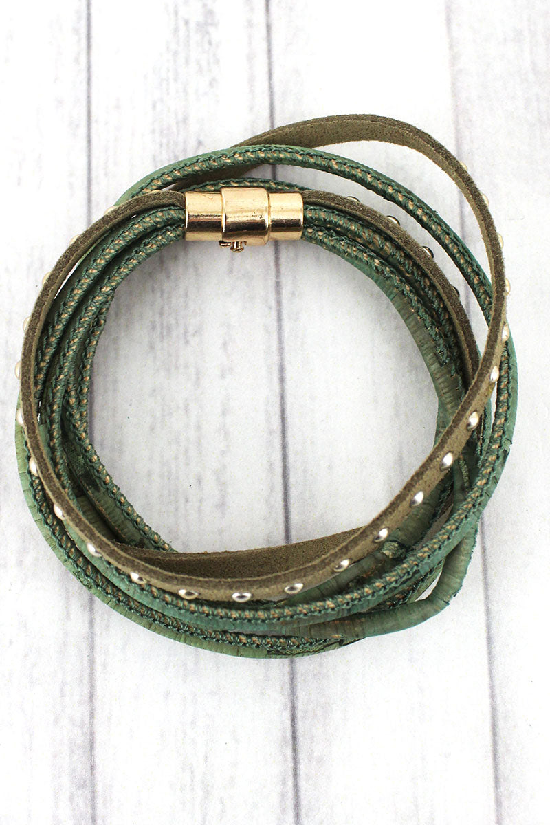 Green Cork and Studded Faux Suede Magnetic Wrap Bracelet