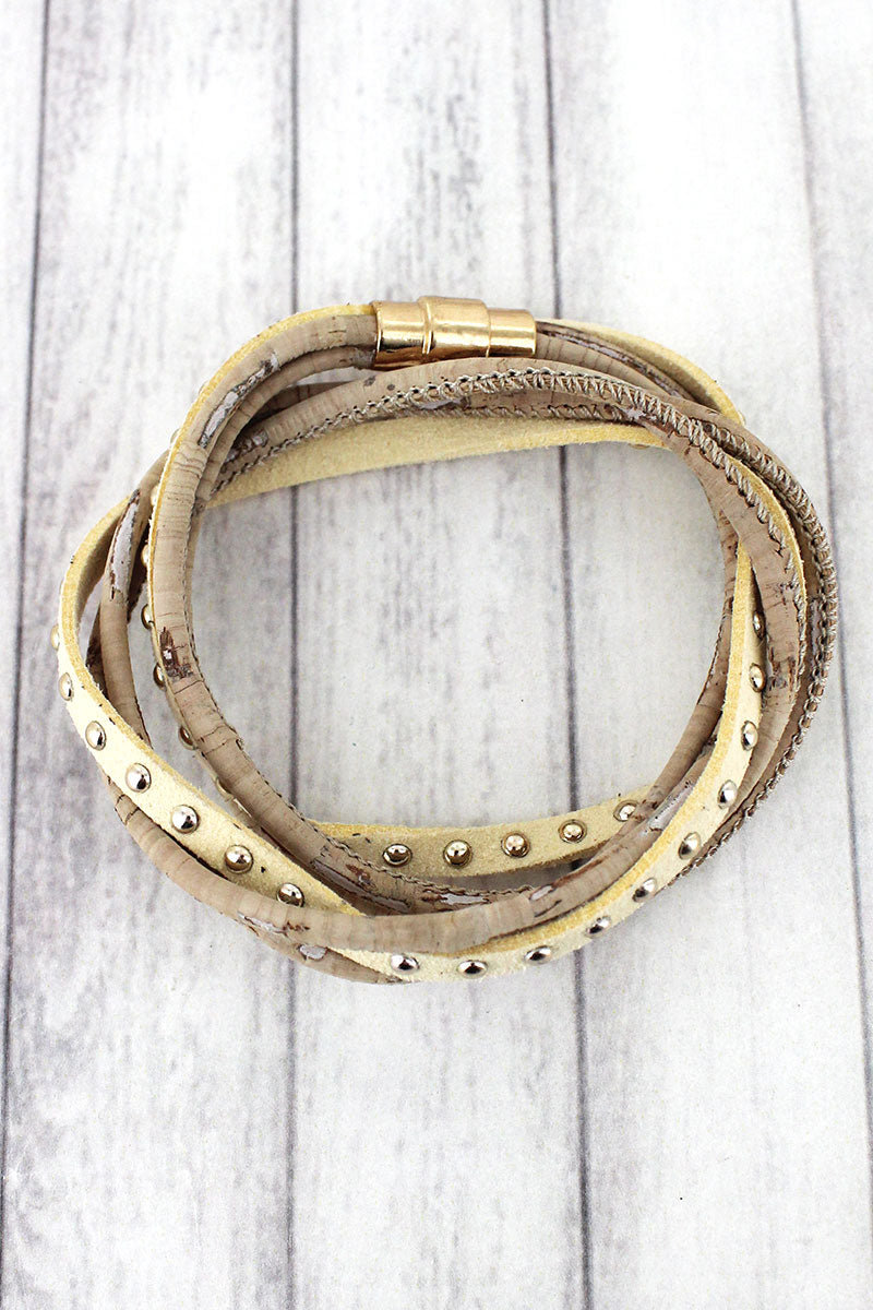 Ivory Cork and Studded Faux Suede Magnetic Wrap Bracelet