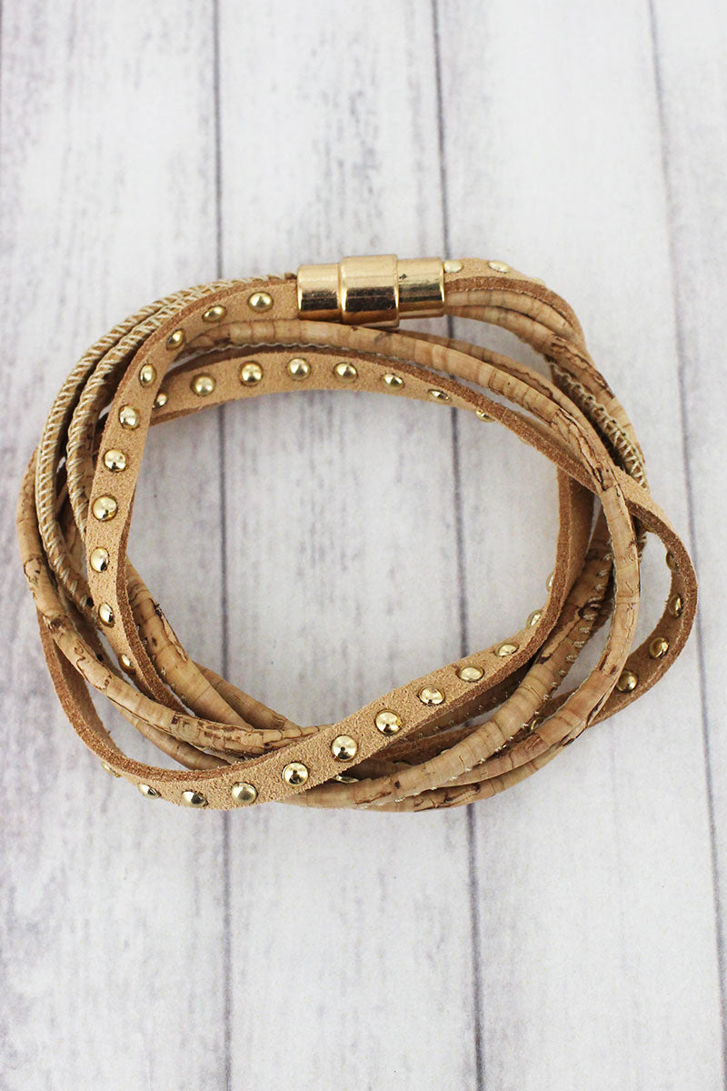 Natural Cork and Studded Faux Suede Magnetic Wrap Bracelet