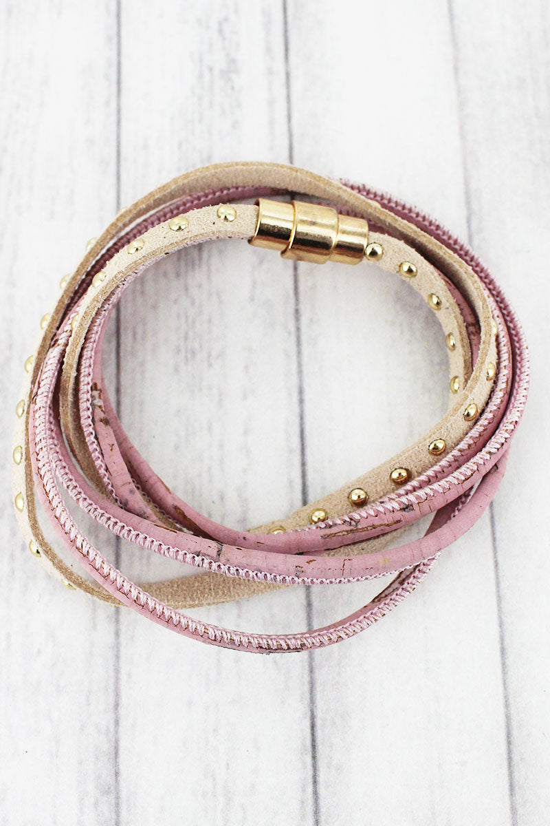 Pink Cork and Studded Faux Suede Magnetic Wrap Bracelet