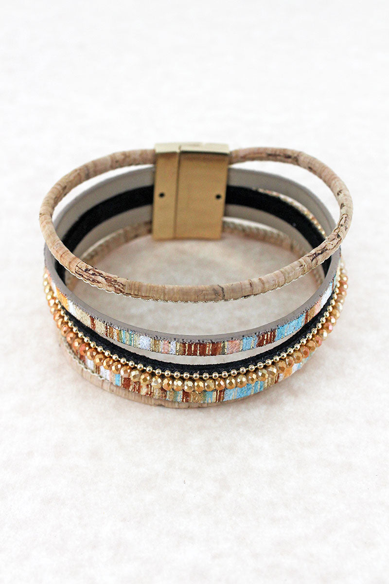 Natural Metallic Stripe, Cork, and Glass Bead Multi-Strand Magnetic Bracelet