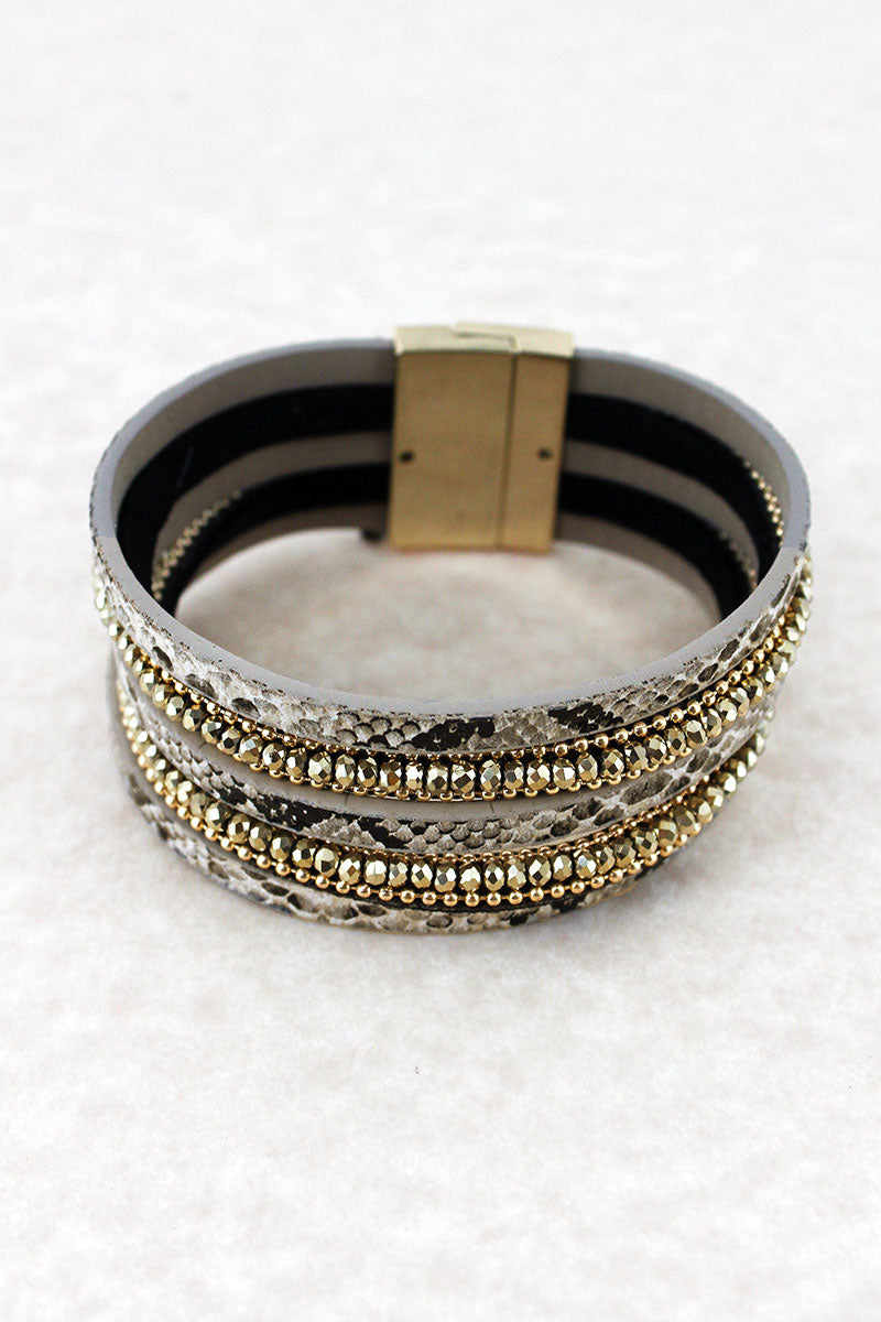 Beige Snakeskin and Glass Bead Multi-Strand Magnetic Bracelet