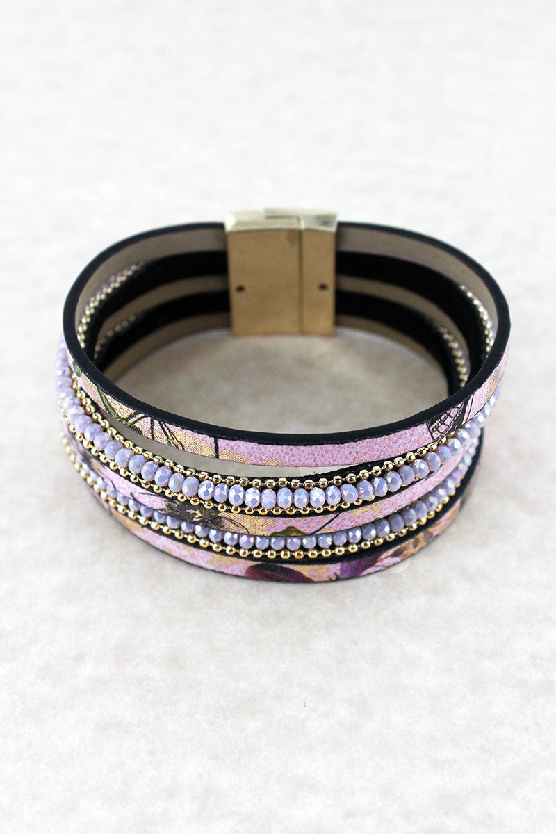 Pink Floral Print and Glass Bead Multi-Strand Magnetic Bracelet
