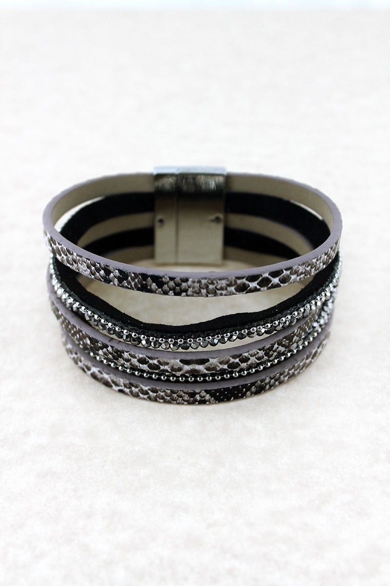 Gray Snakeskin and Glass Bead Multi-Strand Magnetic Bracelet