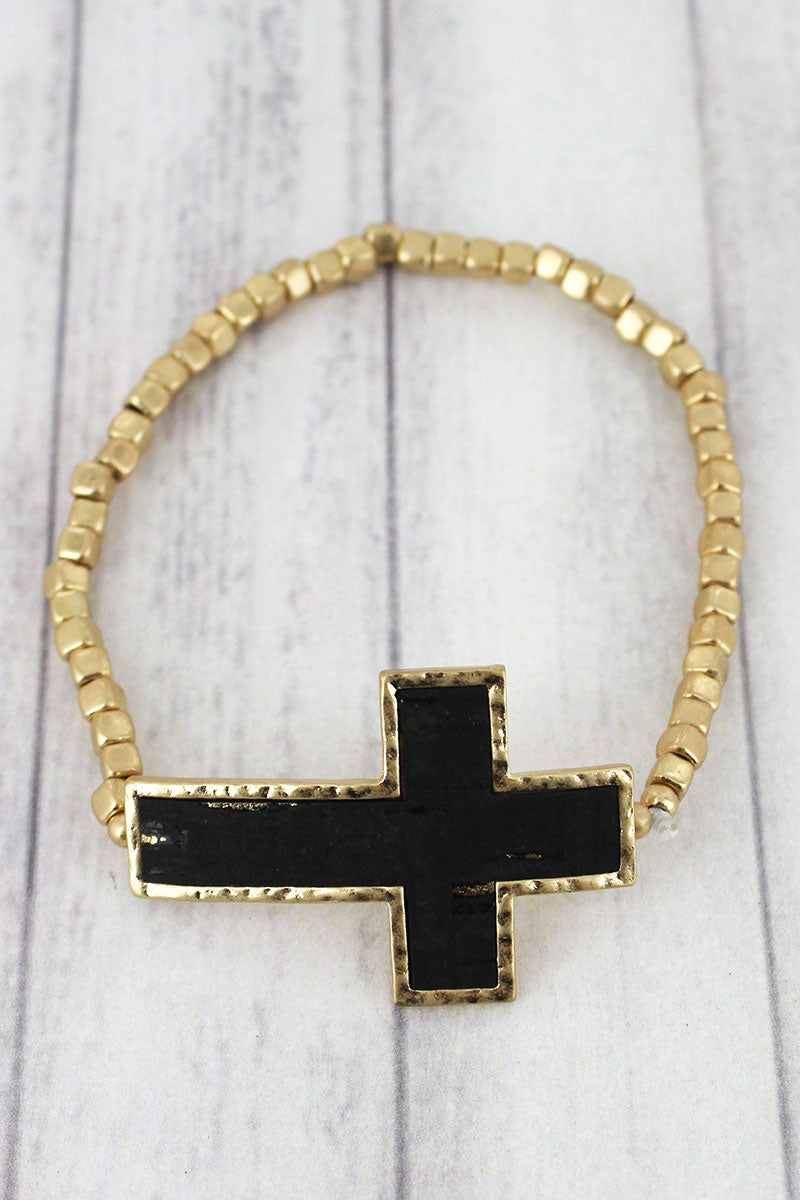 Black Cork and Goldtone Cross Cube Beaded Bracelet