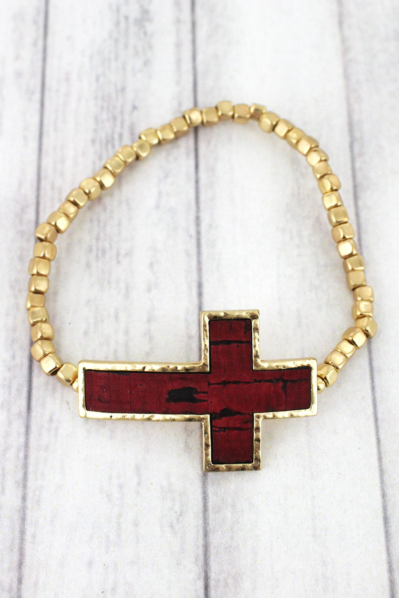Red Cork and Goldtone Cross Cube Beaded Bracelet