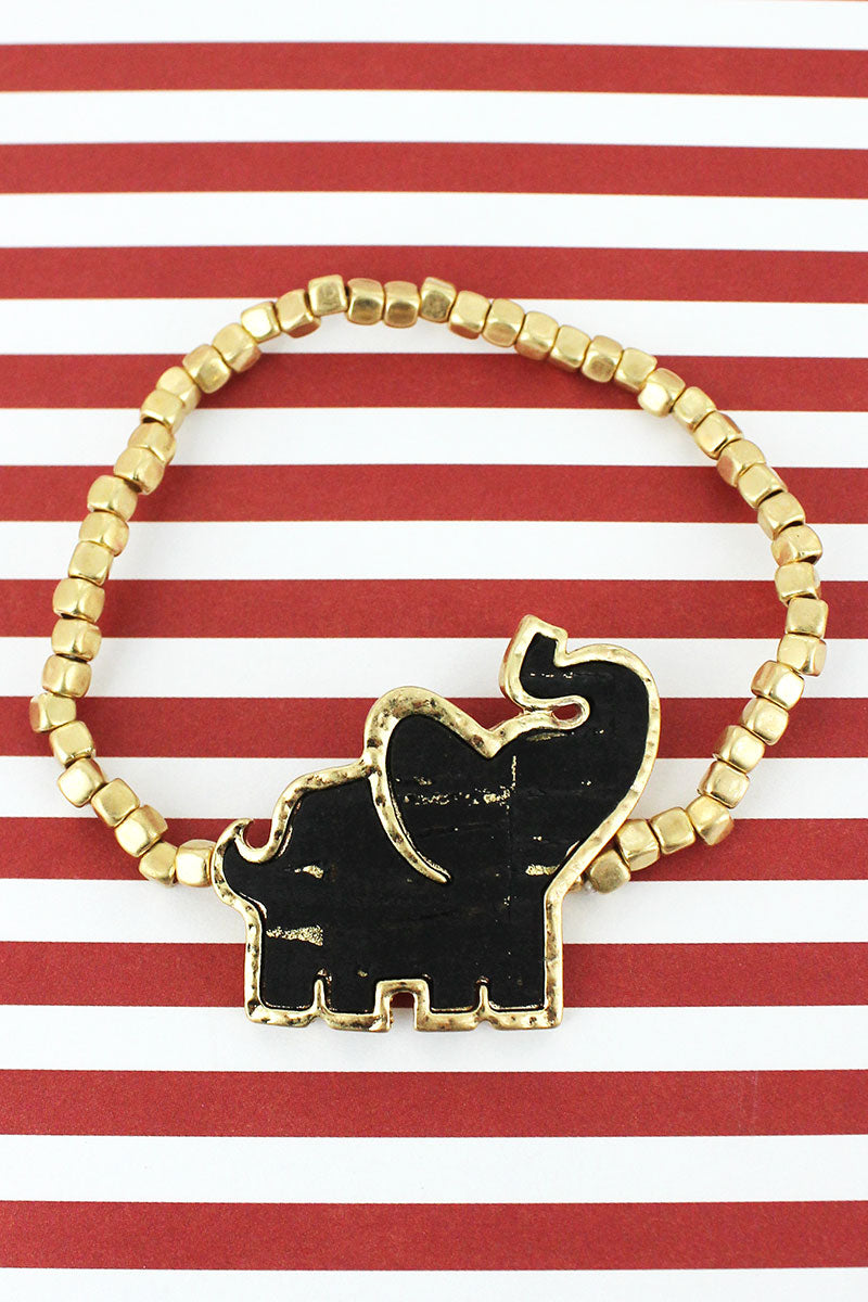 Black Cork and Goldtone Elephant Cube Beaded Bracelet