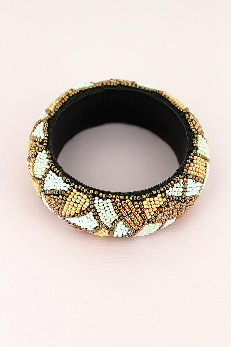 Ivory Multi-Color Seed Bead Mosaic Wide Bangle