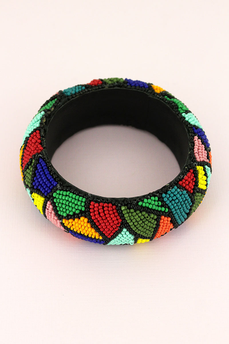 Multi-Color Seed Bead Mosaic Wide Bangle