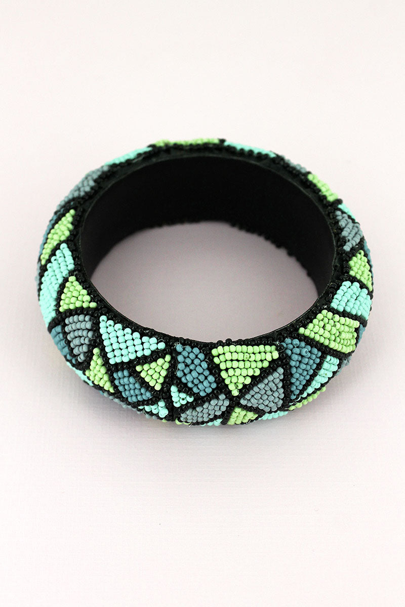 Turquoise Multi-Color Seed Bead Mosaic Wide Bangle