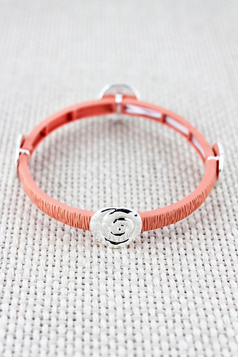Coral and Hammered Silvertone Swirl Charm Stretch Bracelet
