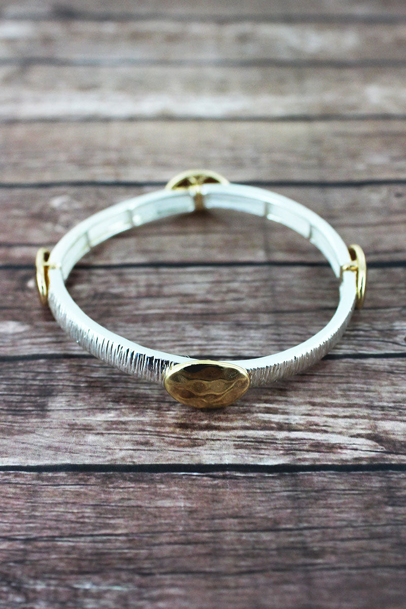 Hammered Two-Tone Oval Charm Stretch Bracelet