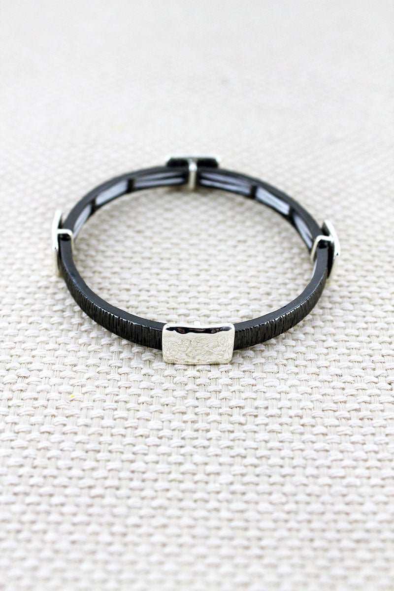 Gray and Hammered Silvertone Square Charm Stretch Bracelet