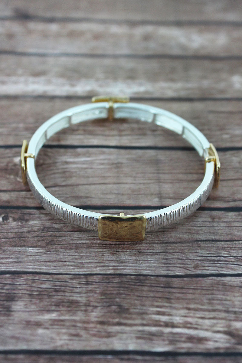 Hammered Two-Tone Square Charm Stretch Bracelet