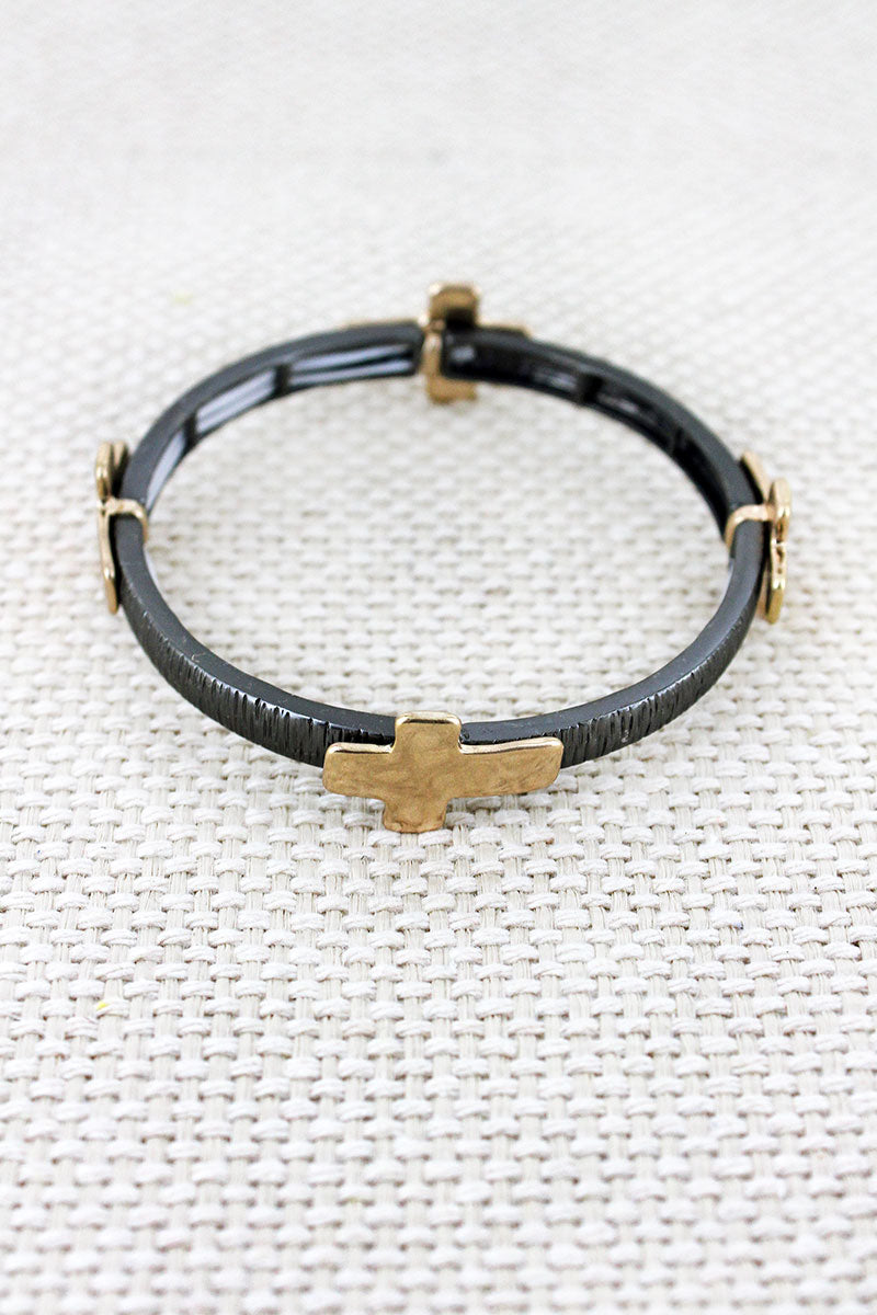 Hematite and Hammered Goldtone Cross Charm Stretch Bracelet