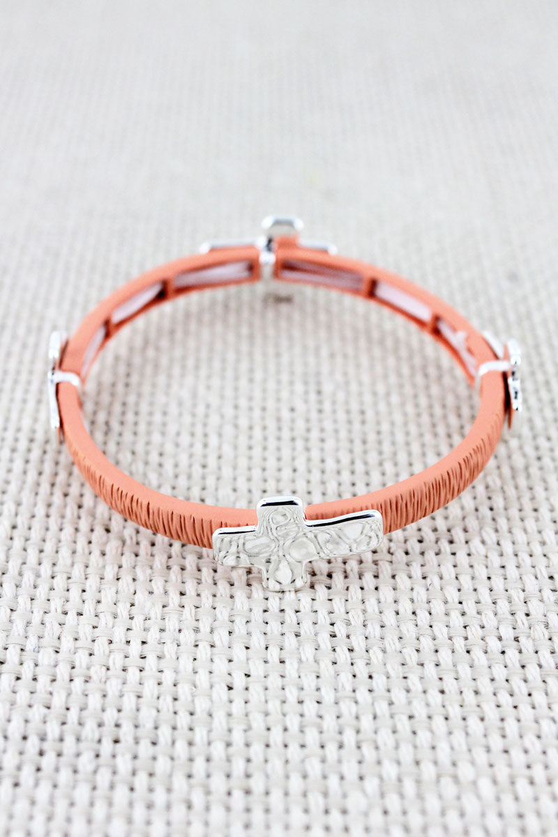 Coral and Hammered Silvertone Cross Charm Stretch Bracelet