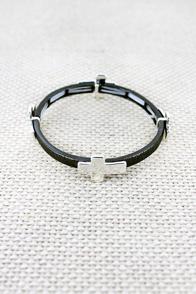 Hematite and Hammered Silvertone Cross Charm Stretch Bracelet