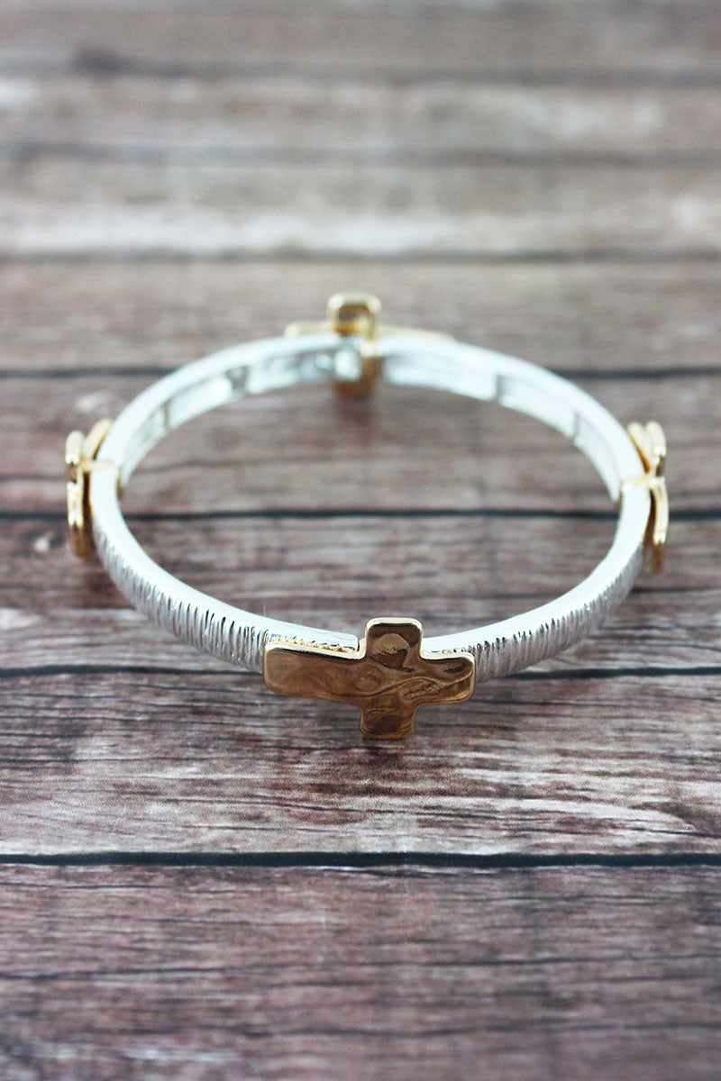 Hammered Two-Tone Cross Charm Stretch Bracelet