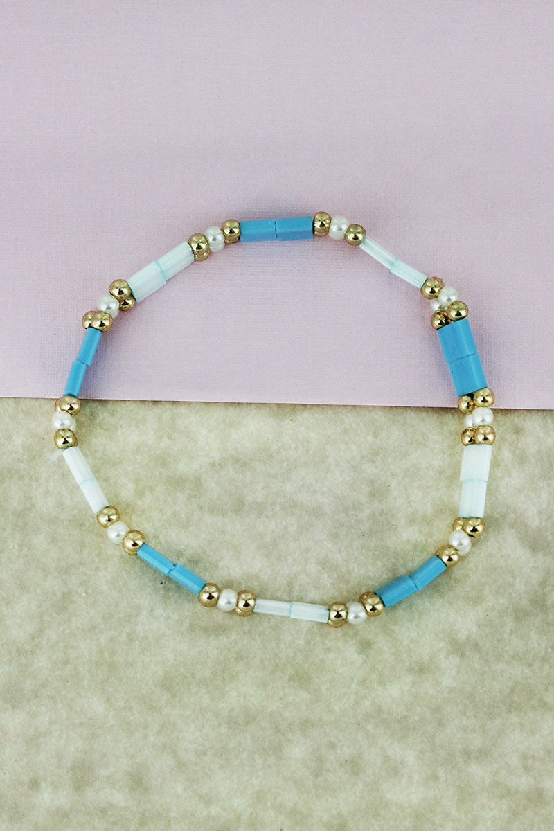 Goldtone & Pearl Bead and Blue Tiled Bracelet