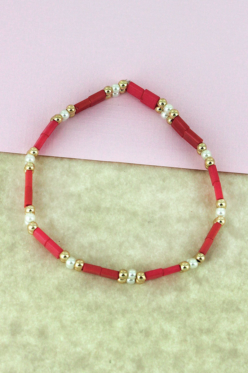 Goldtone & Pearl Bead and Coral Tiled Bracelet
