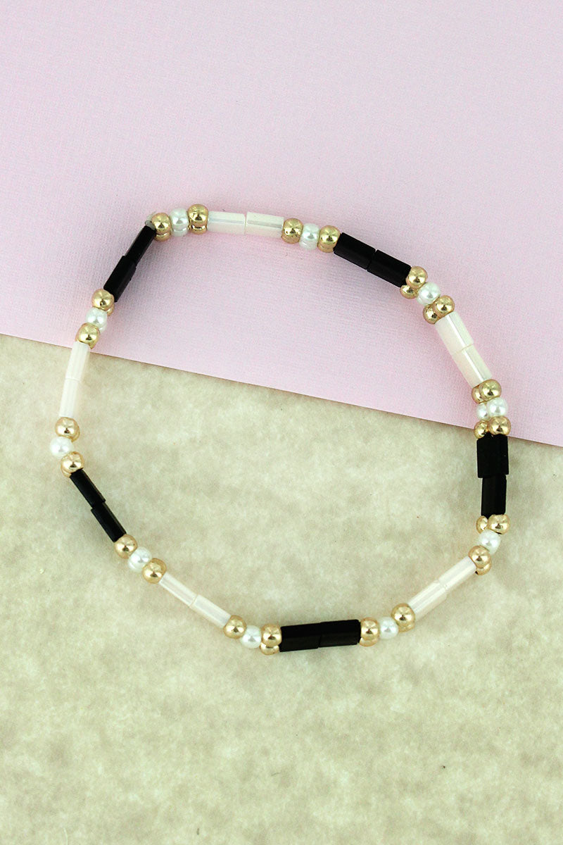 Goldtone & Pearl Bead and Black & Ivory Tiled Bracelet