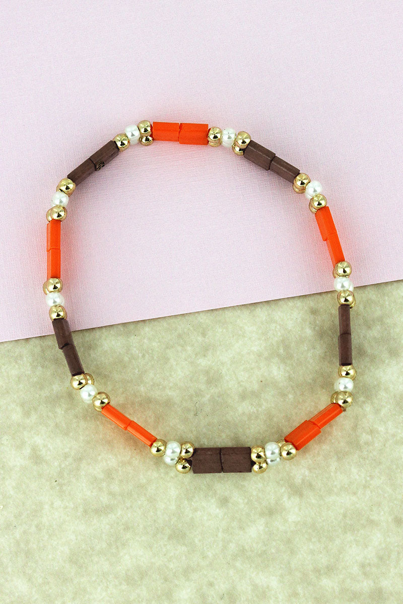 Goldtone & Pearl Bead and Orange & Brown Tiled Bracelet