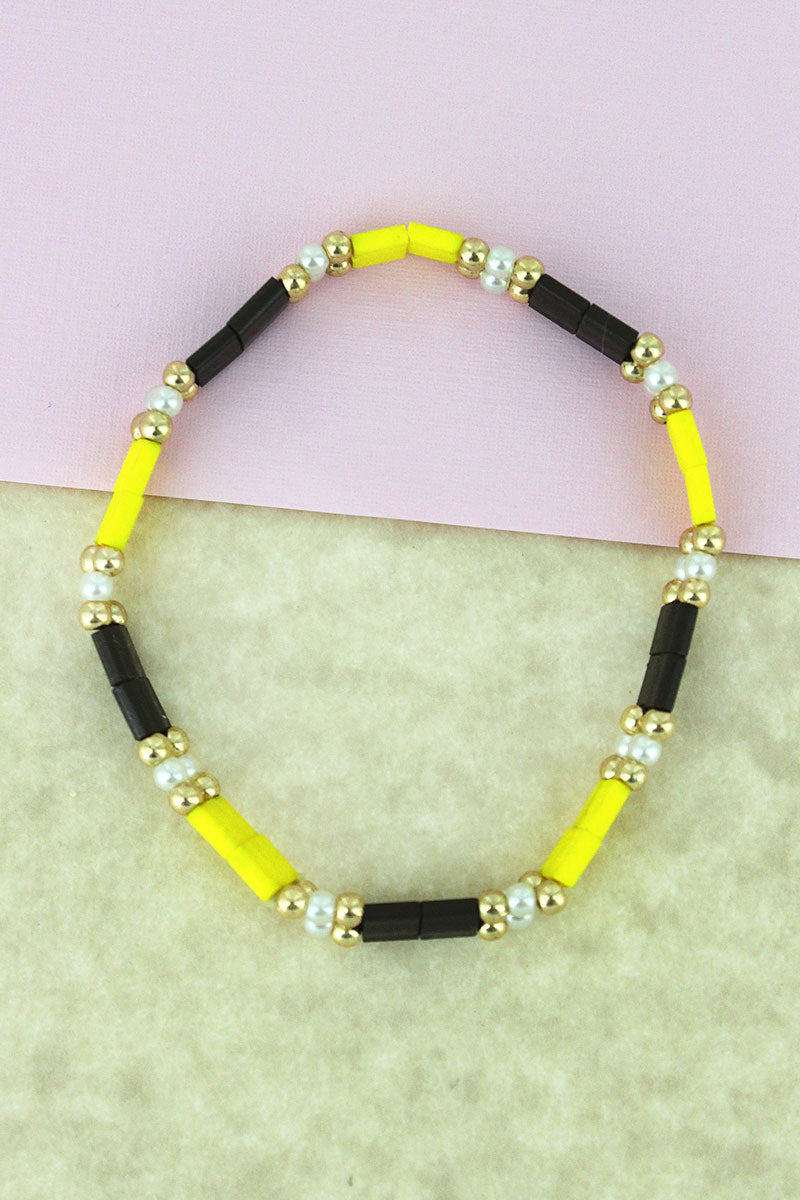 Goldtone & Pearl Bead and Yellow & Gray Tiled Bracelet