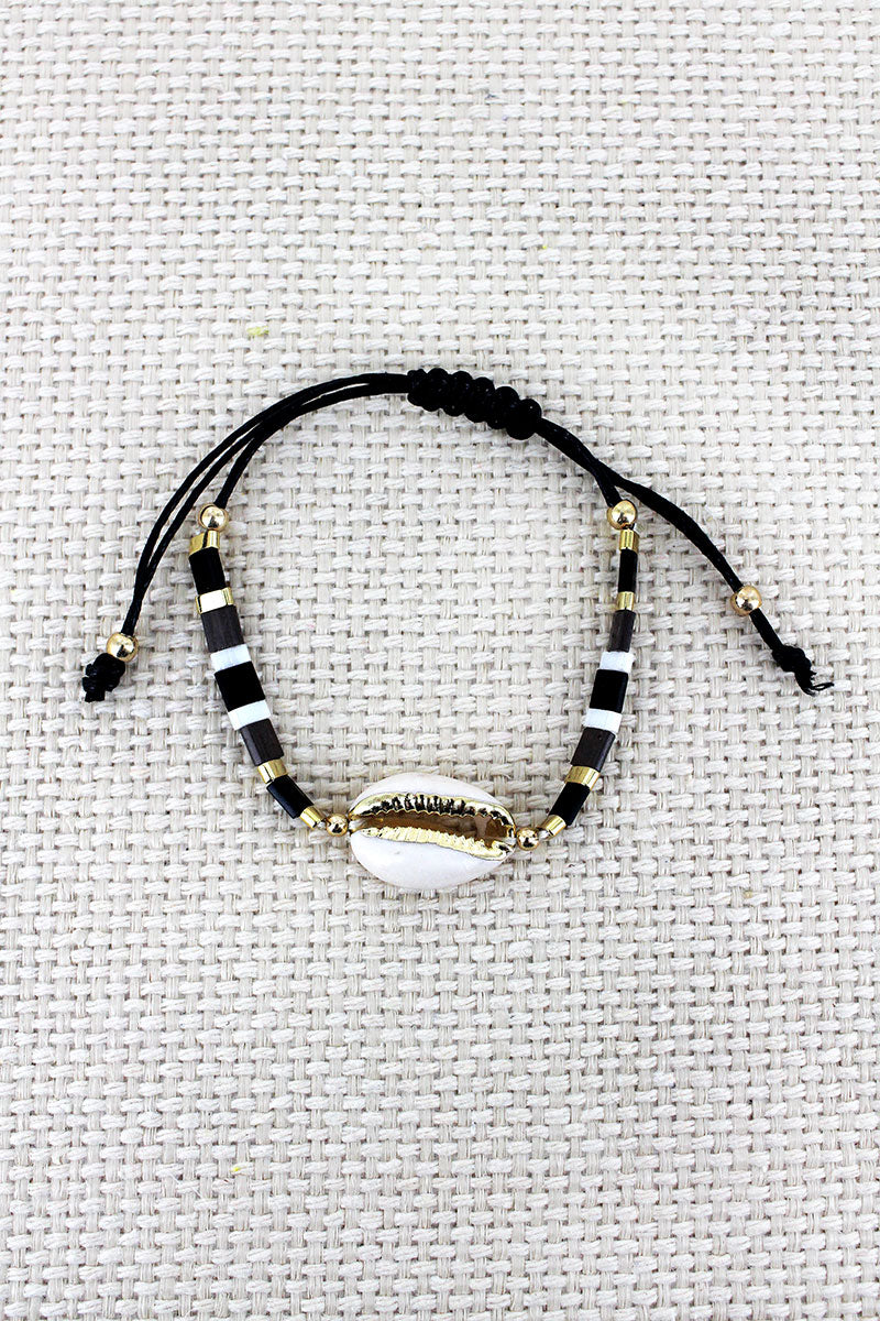 Black Tile Bead Cowrie Shell Adjustable Cord Bracelet