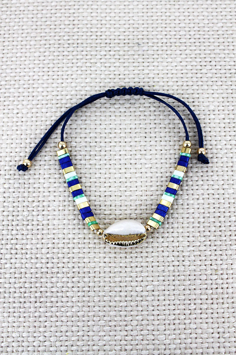 Blue Tile Bead Cowrie Shell Adjustable Cord Bracelet