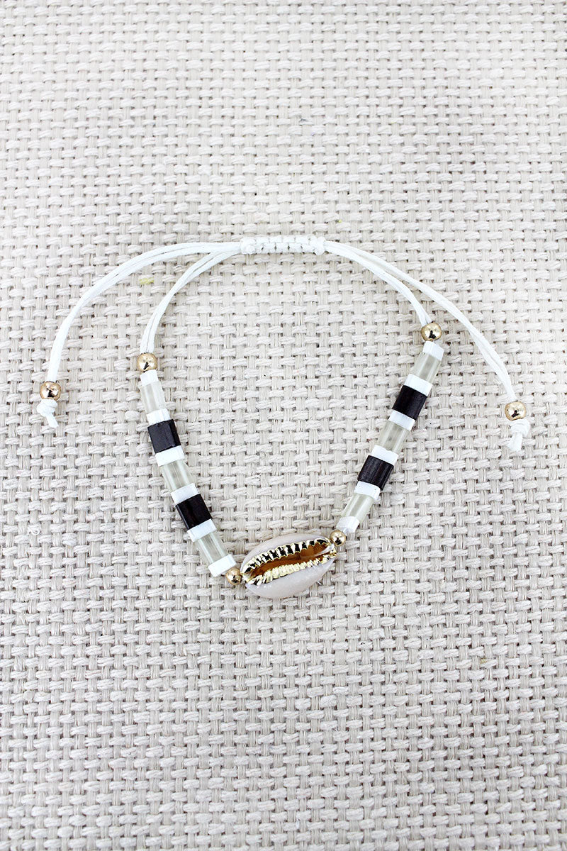 Gray Tile Bead Cowrie Shell Adjustable Cord Bracelet