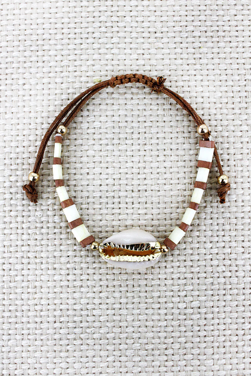 Ivory Tile Bead Cowrie Shell Adjustable Cord Bracelet